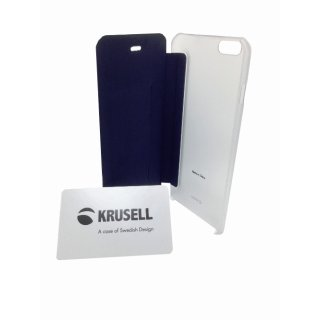 Krusell Flip- / Book-Cover Boden für Apple iPhone 6/6S Plus, Vorderseite schwarz, Rückseite transparent
