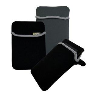 """Muvit Reversible Neopren Sleeve für Tablets bis 7"""", schwarz / grau"""