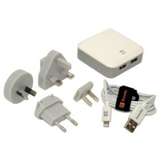XtremeMac Incharge Home LT LED, Dual USB-Ladegerät 4.8A, weiß