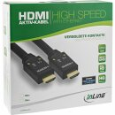 InLine® HDMI Aktiv-Kabel, HDMI-High Speed mit Ethernet, 4K2K, Stecker / Stecker, schwarz / gold, Nylon Geflecht Mantel 25m