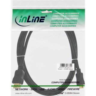 InLine® HDMI Mini Kabel, High Speed HDMI® Cable, Stecker A auf C, verg. Kontakte, schwarz, 2,5m