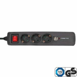 InLine® Steckdosenleiste, 3-fach Schutzkontakt, 2x USB, mit Schalter, 1,5m, schwarz